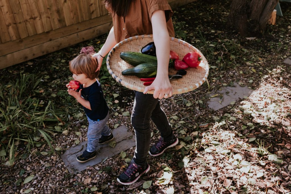 mom and little boy coming back from picking vegetables from the garden. mom is holding a flat basket under one arm and stroking the boys hair with the other hand