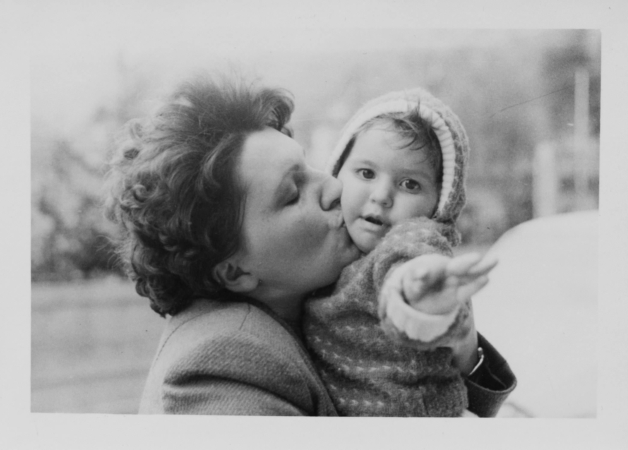 Mother and daughter, black and white 80's photography.