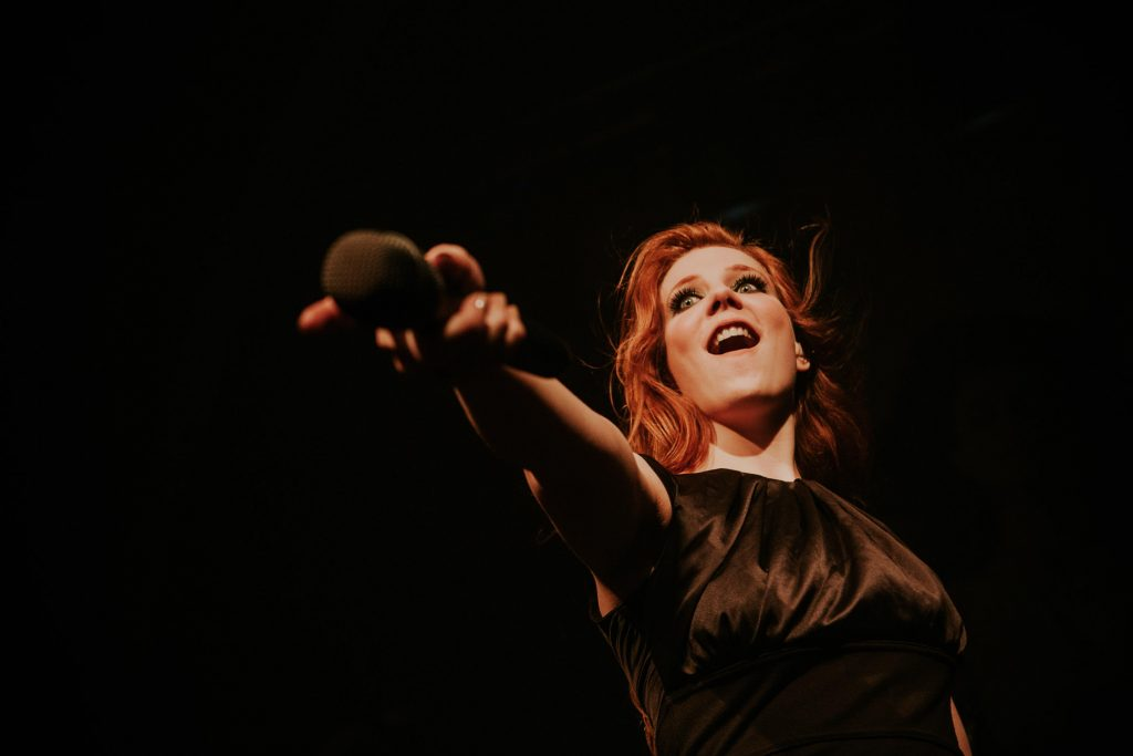Epica singer Simone Simons during live concert in Bucharest