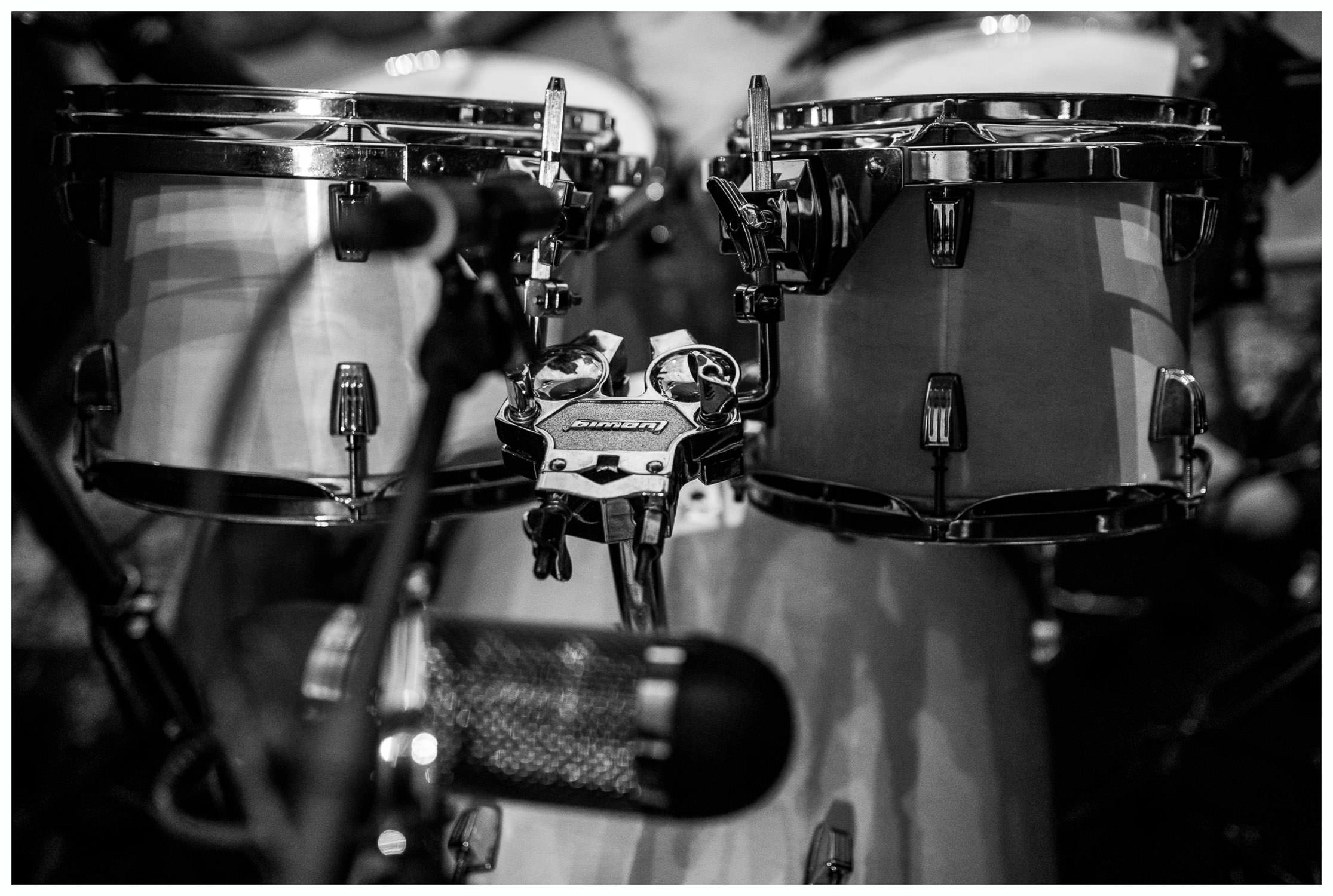drums in a recording room