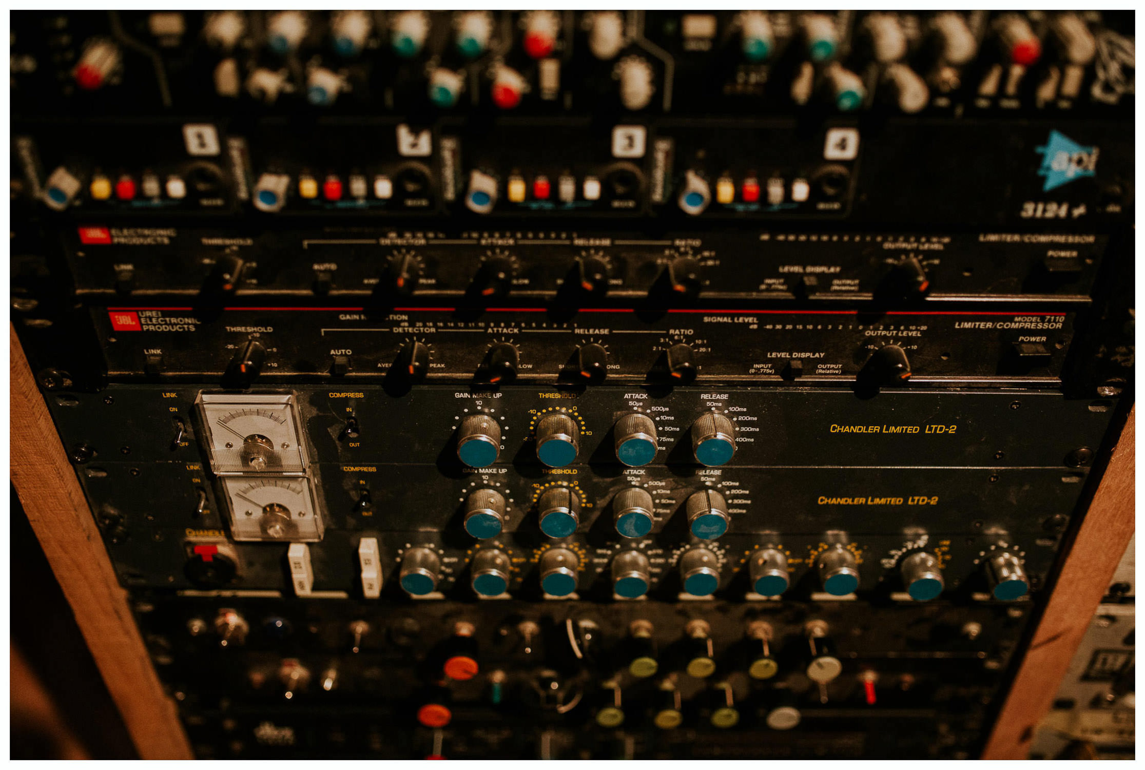 buttons and lights in a recording studio