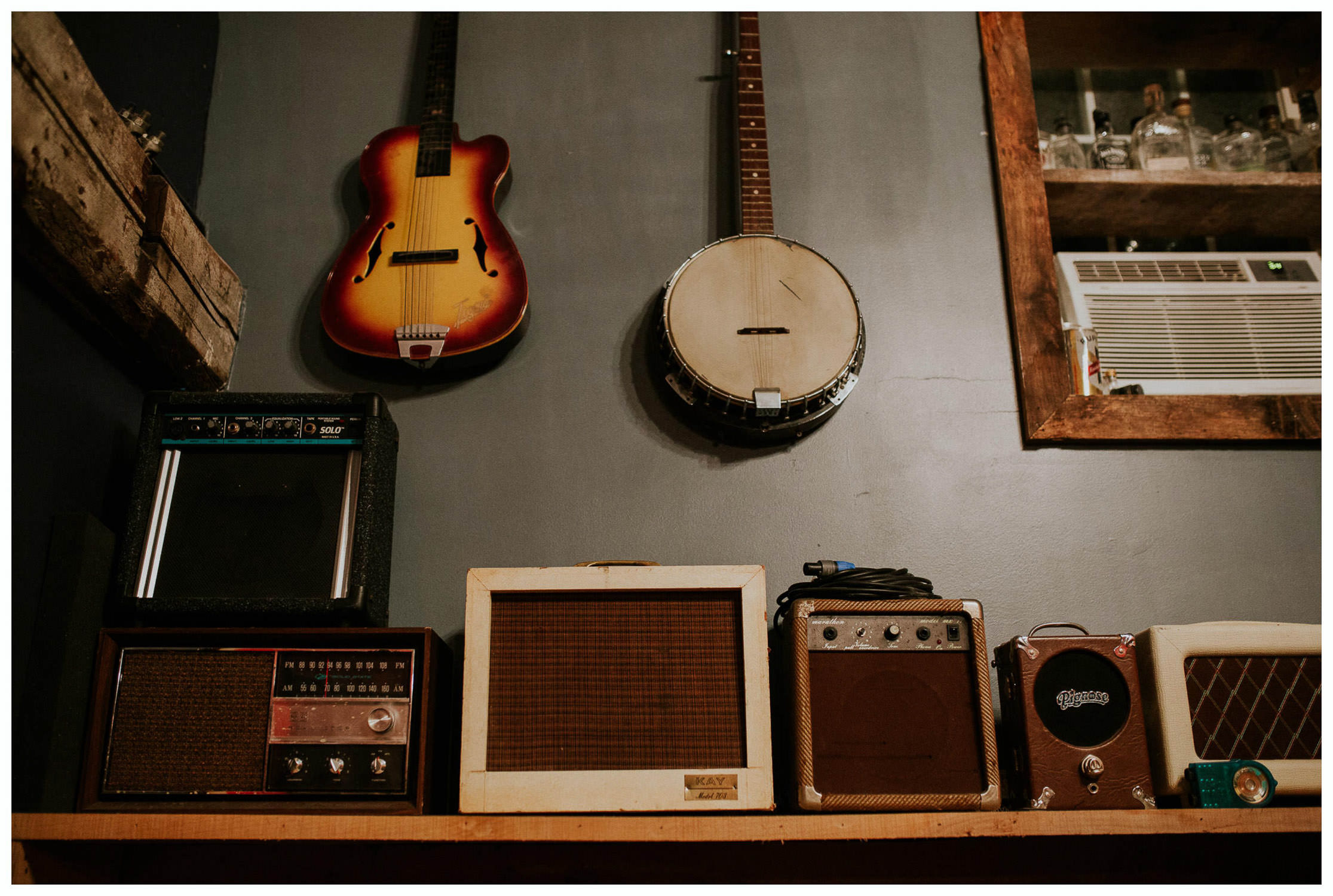 musical instruments in recording room