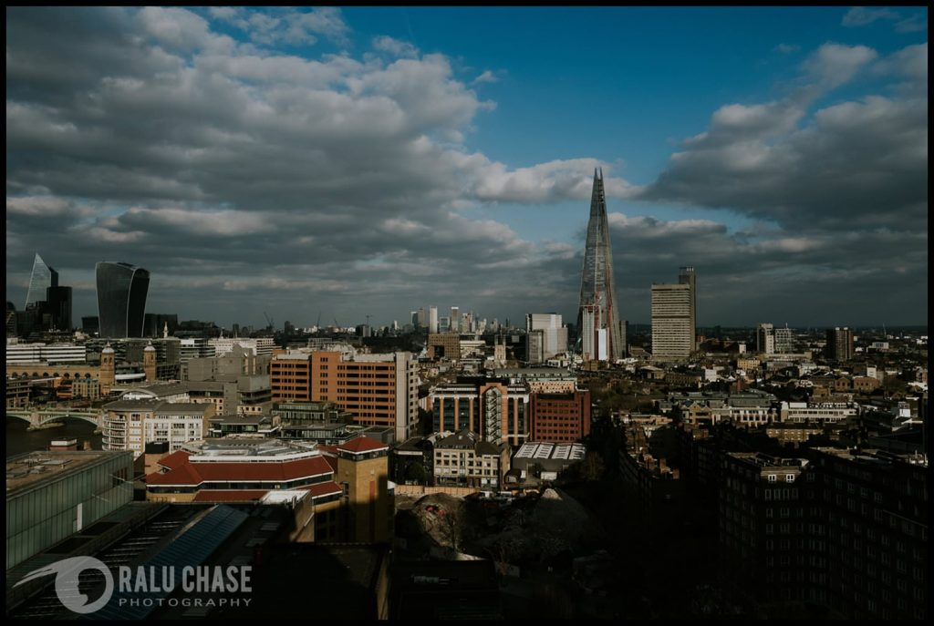 a beautiful view of London, the Shard and other landmarks from the Tate Modern Museum in London