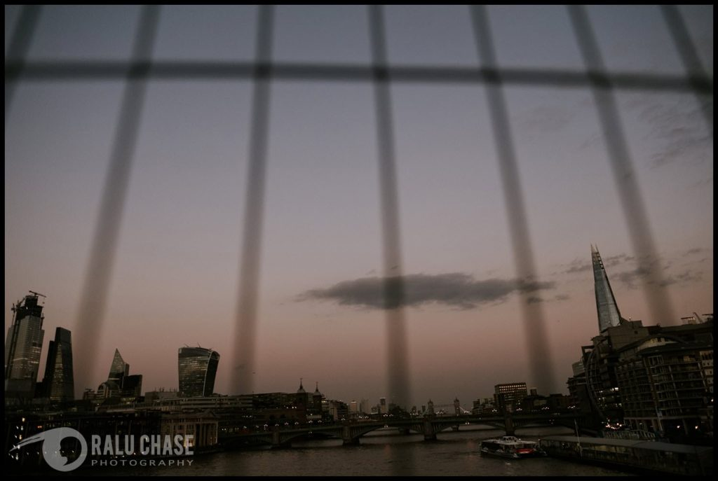 beautiful view of London from the Millennium Bridge at dusk taken by Ralu Chase, a London family photographer