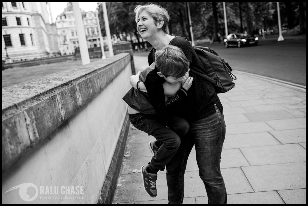 mom and son having fun in central London during a family shoot