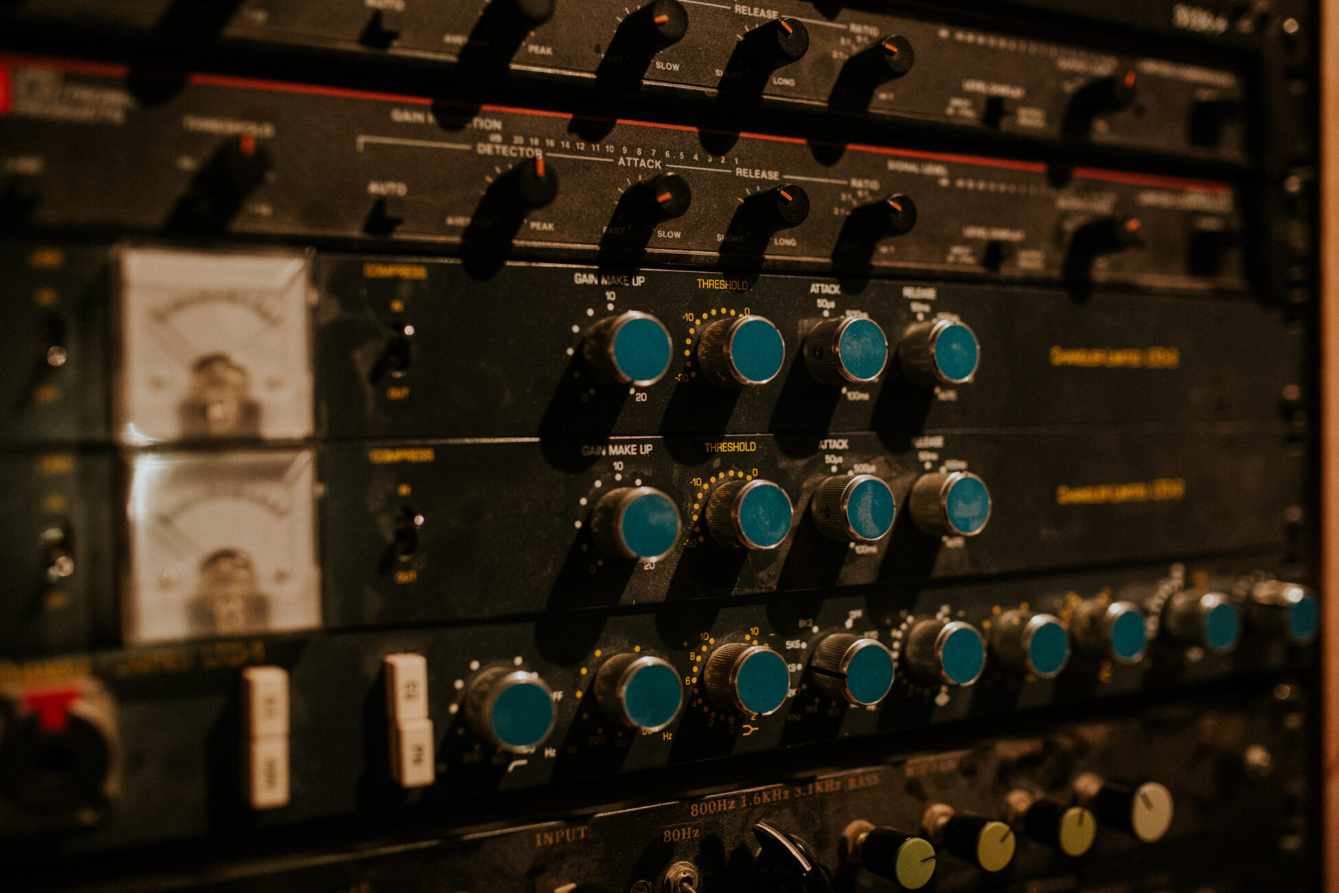 details of a mixer from a recording studio