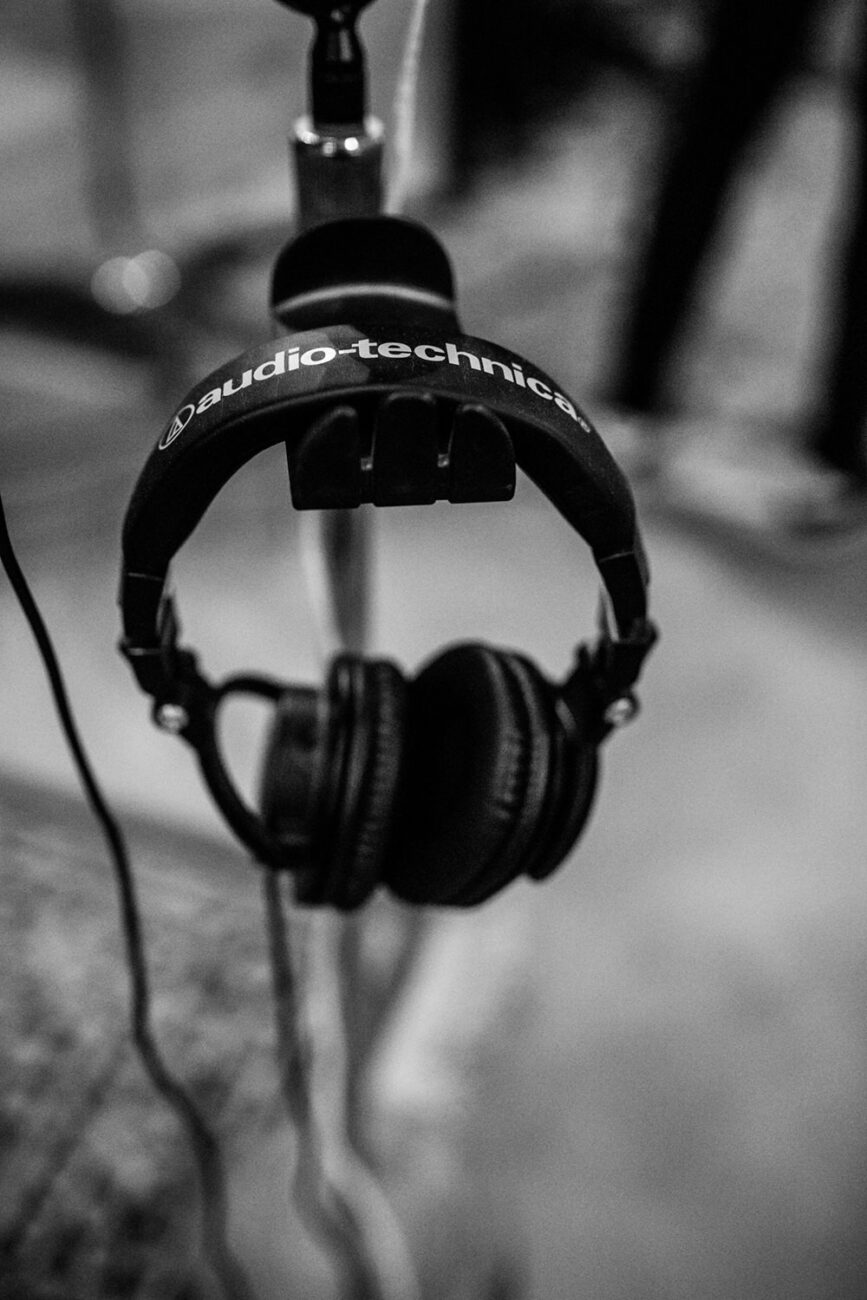 a detail shot of a pair of recording headphones branding photography