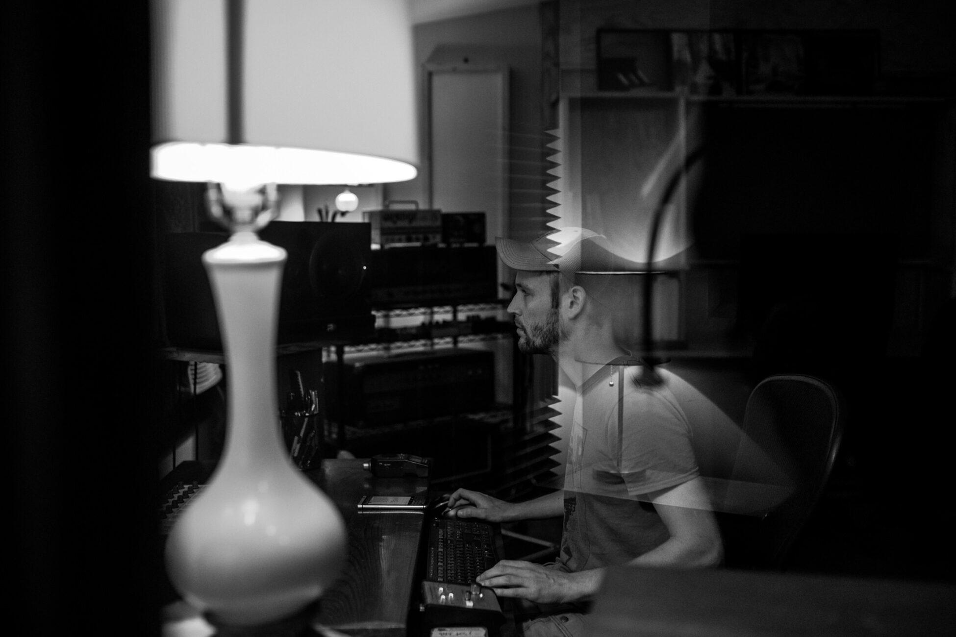 man working in a recording studio essex branding photographer